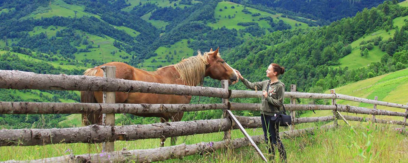 Девушка с лошадью в горах